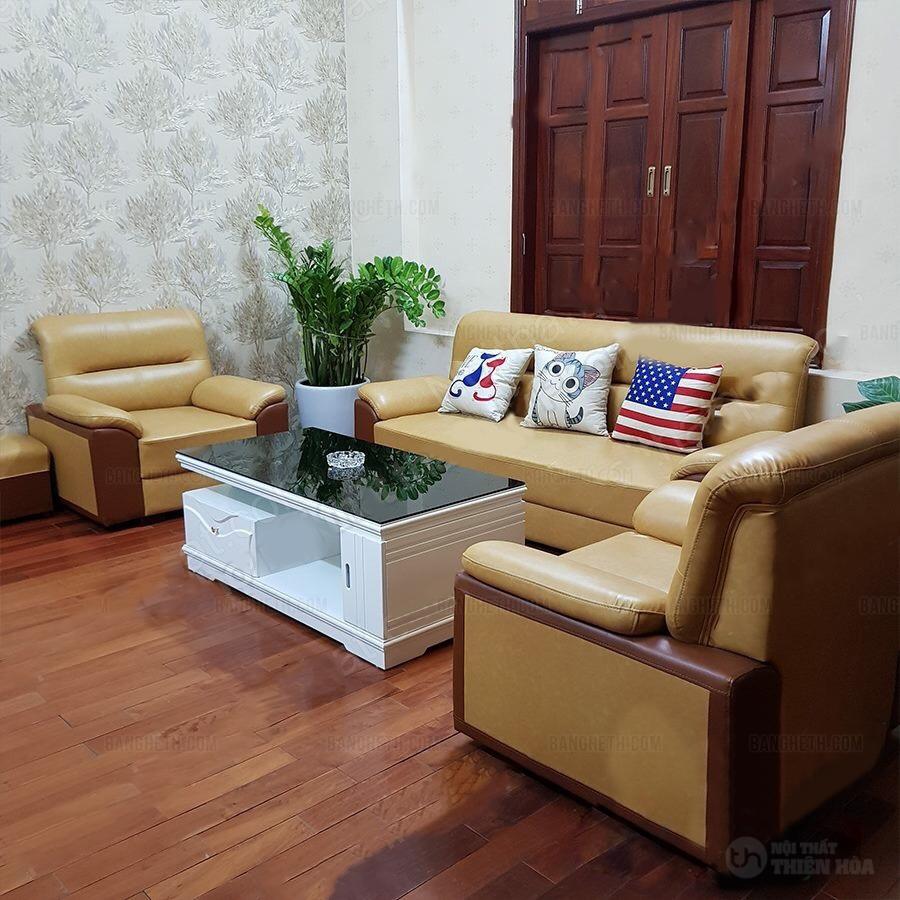 sofa da kiểu Nhật màu kem